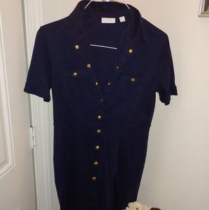 New York & Company. Blue button-down dress LG
